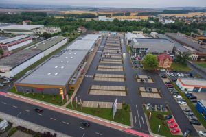 Aerial view of the i49 retail park in Arnstadt